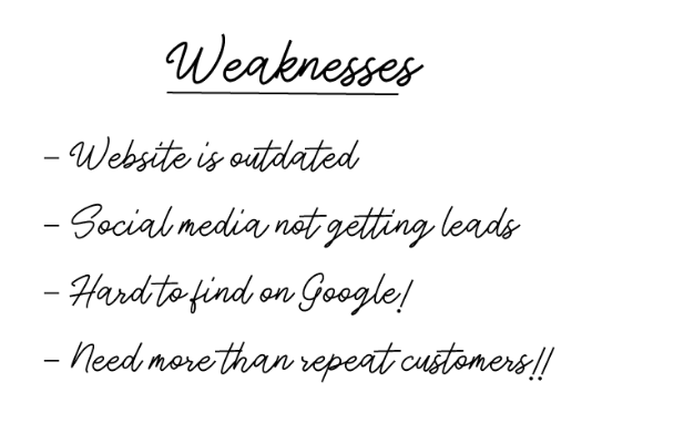 weaknesses in swot analysis