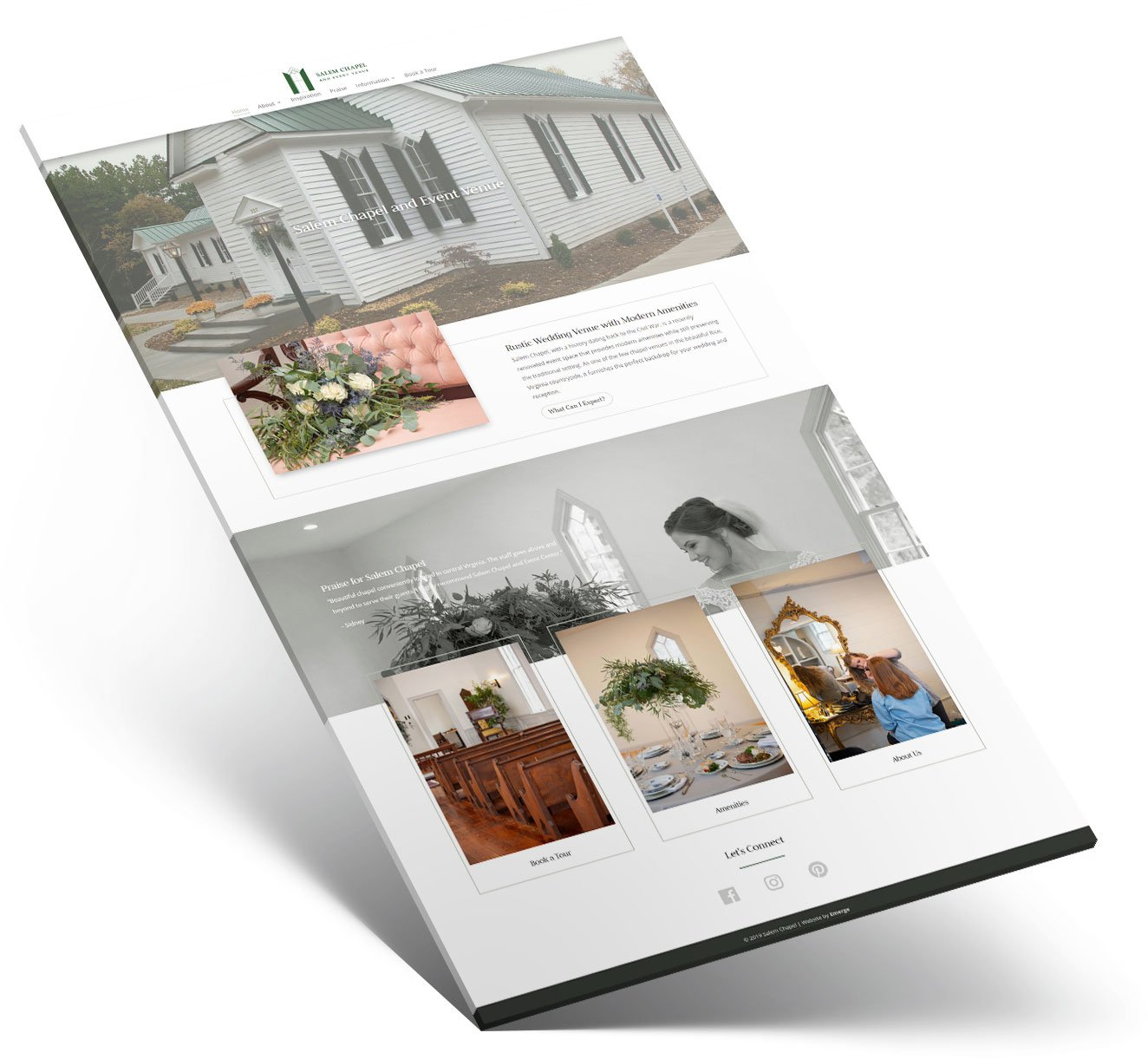 Mockup for Salem Chapel's small business web design layout