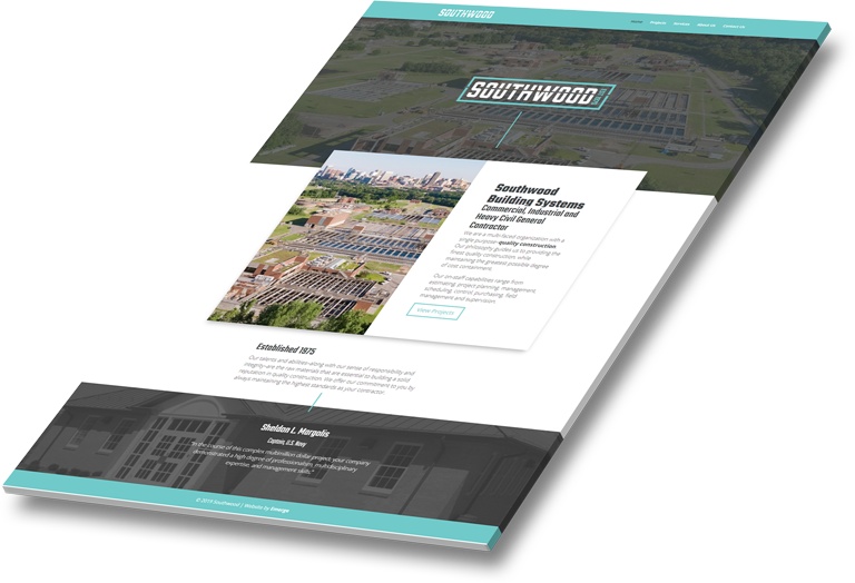 Mockup of Southwood Building Systems' affordable web design layout