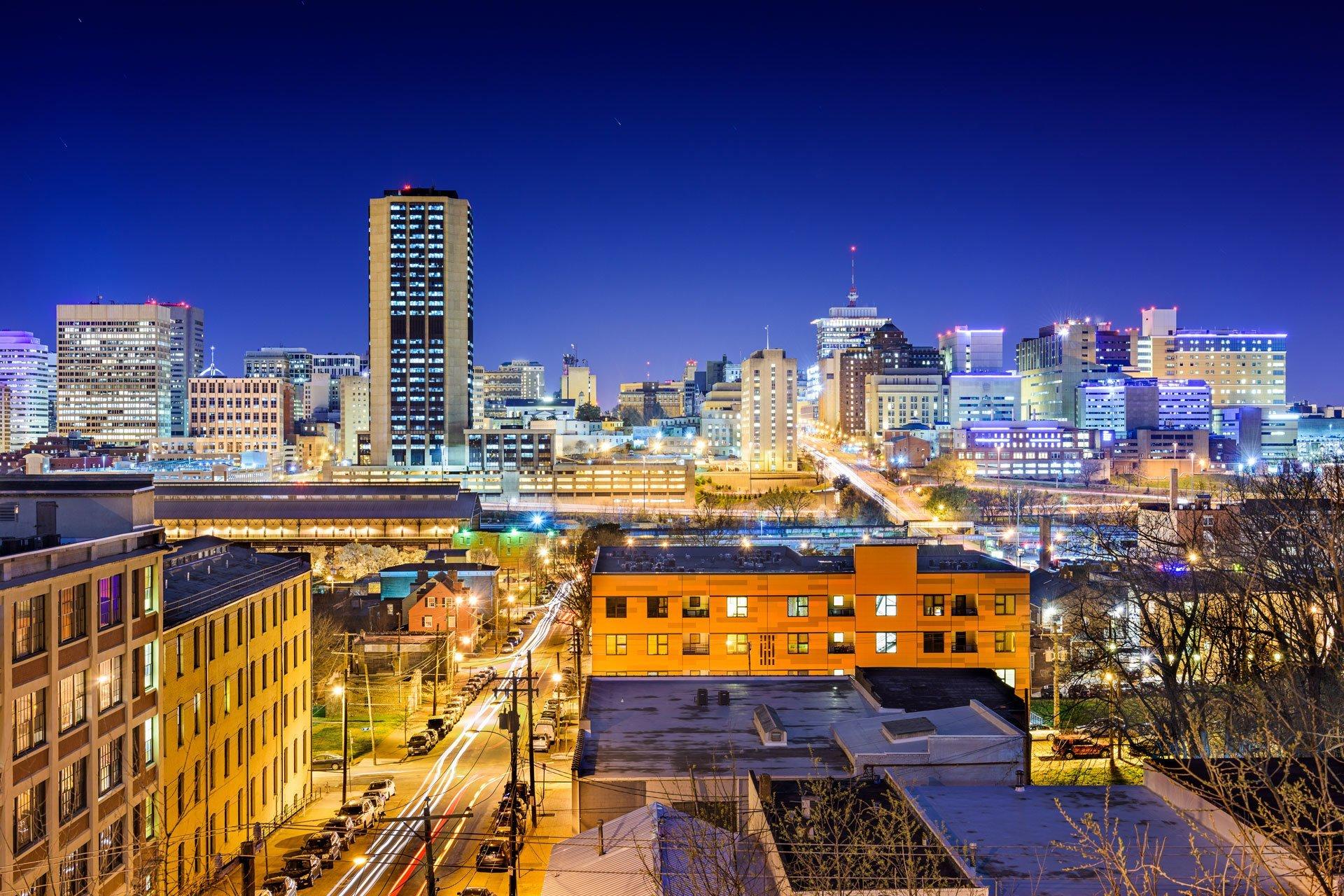 Richmond VA skyline at night with streetlights